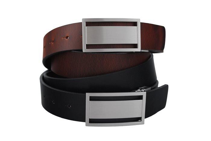 Læder bælter til mænd - 35 mm Vendbart bælte sort/brun med pull-up effekt på den brune side