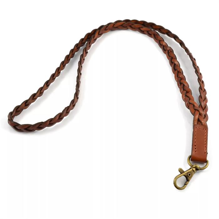 Lucleon Keyhanger 120 cm lang i flette læder med karabinhage
